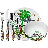 WMF Disney El Libro de la Selva - Vajilla para niños 6 piezas, incluye plato, cuenco y cubertería (tenedor, cuchillo de mesa,