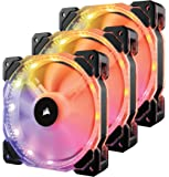 Corsair CO-9050067-WW HD Series HD120 120 mm Low Noise High Pressure Individually Addressable RGB LED Case Fan with Lighting Controller - Black, (Pack of 3)
