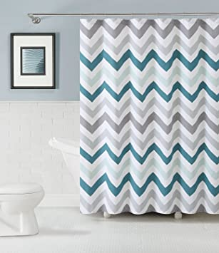 bmall 100 baumwolle stoff vorhang fr die dusche chevron design aqua grau und - Stoff Vorhang Dusche