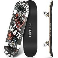 Skateboard per Principianti,79cm×20cm Completo Skate Boards,9 Strati Acero Deck Double Kick Concave Standard Trick…