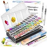 Caja de Acuarelas,RATEL Set de Pintura de Acuarelas Incluye 48 colores Pigmento sólido + 3 Brocha + 2 Pinceles para tanque de