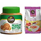 DiSano All Natural Peanut Butter, Crunchy, 30% Protein, Unsweetened, Gluten Free, 1 Kg + Disano High in Protein and Fibre Oat