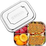 BREADL® Edelstahl Brotdose 1000ml, Spülmaschinenfest, BPA-frei, Trennwand und 3 Fächer, Lunchbox & Bento-Box für Kinder & Erw