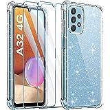 Leathlux Coque Compatible avec Samsung Galaxy A32 4G Souple Silicone Glitter avec 2 Verre Trempé Protection écran Crystal Pai