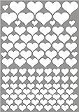 das-label Aufkleber | 106 HERZEN weiß | OUTDOOR glänzend | unterschiedliche Größen | Valentinstag | Muttertag | Scrapbook | Geburtstag | Geschenke | zum bekleben von Autos | Tüten | Geschenkkartons | selbstklebende Markierungspunkte