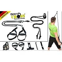 BodyCROSS Premium Schlingentrainer Komplettset   Premium Sling und Sling mit Umlenkrolle   abnehmbare Griffe   inkl. Übungsposter, Trainingsplan, Türanker, Befestigungsschlaufe   Made in Germany