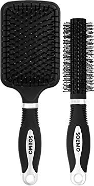 Amazon Brand - Solimo Round and Paddle Hair Brush Combo