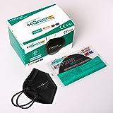 Maskgreen - Mascarilla FFP2 Negra - Caja 20 Unidades - Mascarillas FFP2 Homologadas CE - Fabricadas en España - Normativa UNE