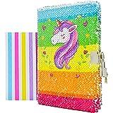VIPbuy Diario para niña, con diseño de unicornio, con cerradura y llave, reversible, tamaño A5, con esquineras adhesivas para