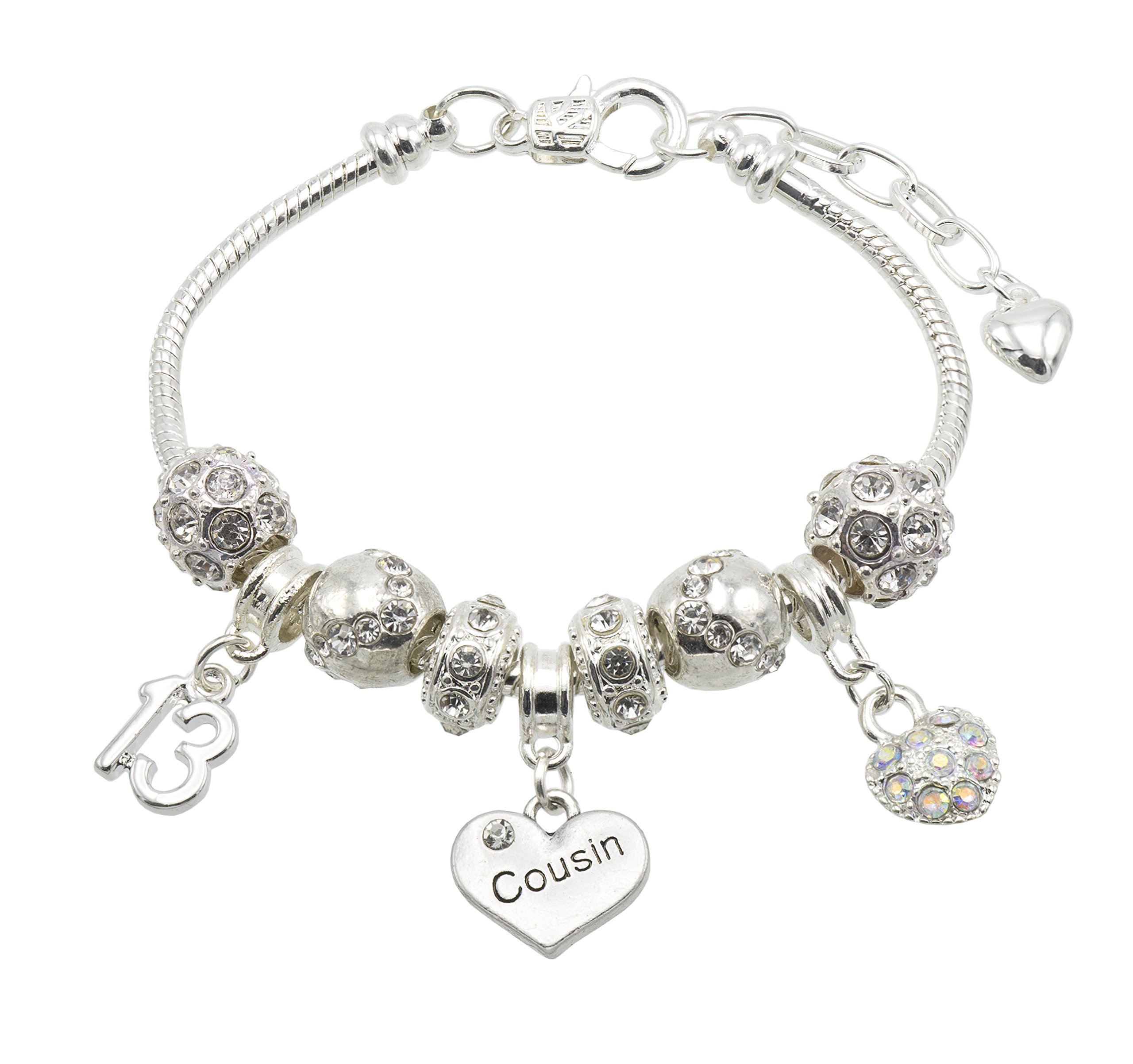 Jewellery Hut Cousin Birthday Charm Bracelet with Gift Box – Ages Available 13, 15, 16, 18, 20, 21, 25, 30, 35, 40, 45 & 50