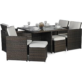 Set Giardino In Rattan.Giardino Rattan Medium Glass Dining Table Cube Set With 4 Highback