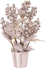 PG Creations Sparkle Cherry Artificial Flower with Plastic Pot