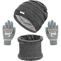 Voqeen Cappello Sciarpa e Guanti Set Invernale Berretto in Maglia Caldo Cappelli da Donna Guanti Touch Screen Invernali…