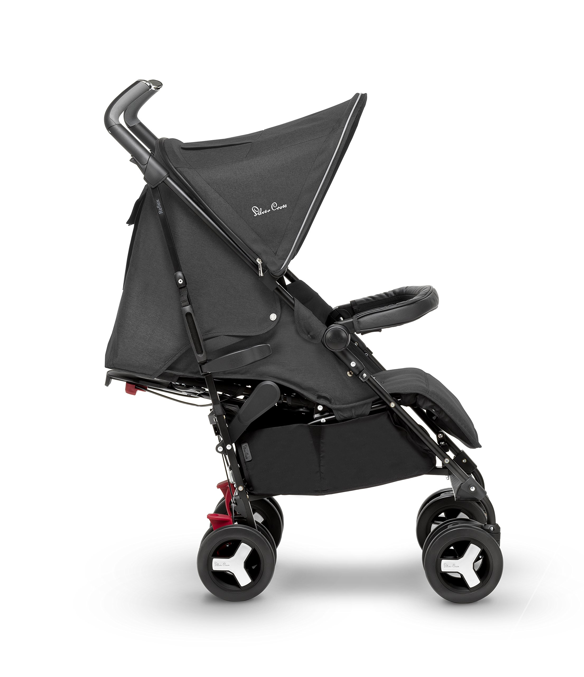 Silver Cross Reflex Stroller, Onyx Silver Cross Reflex is an advanced stroller, suitable from birth up to 25kg, with a wealth of features 5-point Harness Combine with Silver Cross Simplicity Car Seat to create a convenient Travel System 1