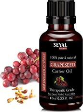 Seyal Grapeseed Oil 100% Pure & Natural, Therapeutic Grade Organic Cold Pressed, For Face, Nails, Hair & Skin (10ml)