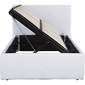 Seattle Ottoman Storage Bed Side Lift Opening - White 3ft Single ...