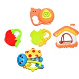 Vibgyor Vibes™ 5 PCS Lovely Colourful Rattle Toys For Toddler with one Rattle makes Squeeze sound when Pressed. For Baby…