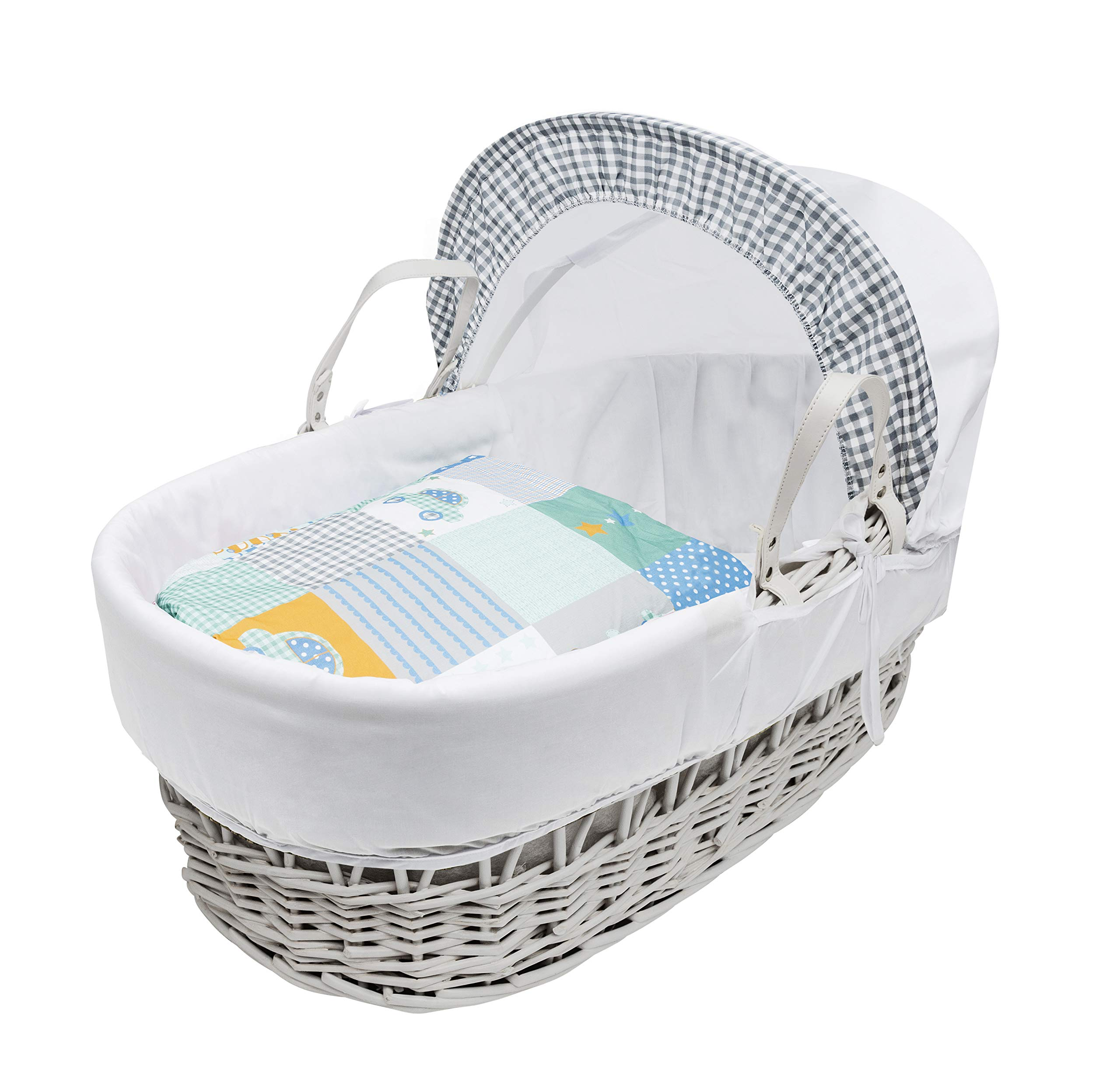Vintage Cars White Wicker Moses Basket with Deluxe White Rocking Stand Elegant Baby Vintage style Elegant Baby Exclusive moses basket Opulent cotton blend fabric with a luxurious soft padded surround Unique adjustable deluxe rocking stand with soothing front to back motion 3