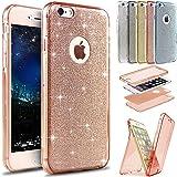 Kompatibel mit Hülle iPhone 6S Plus/6 Plus Hülle,Full-Body 360 Grad Bling Glänzend Glitzer Durchsichtige TPU Silikon…