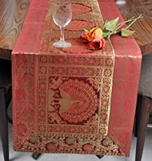 Lal Haveli Silk Fabric Designer Table Runner Rectangular Shape Party Decorations Red Color 60 X 16 inches