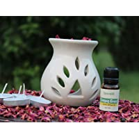 Spendiff Ceramic Aroma Oil Burner Ivory White Color with 1 Bottles of Essential Aroma Oil and 4 Tea Light Candle (Oil…