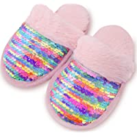Dream Bridge Kids' Sequin Slippers, House Slippers with Anti-Slip Sole for Boys and Girls Indoor and Outdoor Activities