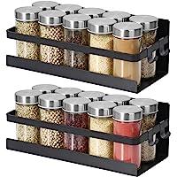 Lot de 2 étagères à épices magnétiques à suspendre pour réfrigérateur, étagère murale, porte-épices - Noir mat - En…