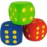 Sport-Thieme Schaumstoffwürfel   3X Spielwürfel aus Schaumstoff in Blau, Grün, Rot   16x16x16 cm   Formbeständig, farbfest, ausgefräste Zahlen   Ab 3 Jahren   Markenqualität