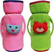 Cutieco Baby Feeding Bottle Cover with Attractive Cartoon, Green and Pink (Pack of 2)