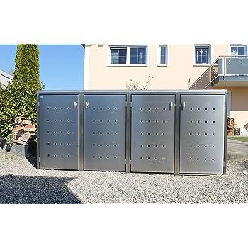 m lltonnenbox metall f r 4 m lltonnen mit klappdeckel anthrazit garten. Black Bedroom Furniture Sets. Home Design Ideas