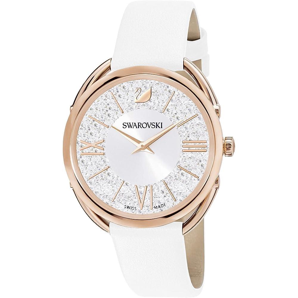 Swarovski orologio da donna crystalline glam,  in acciaio inossidabile e pelle 5452459