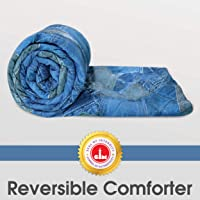 Divine Casa 110 GSM Microfiber Summer Single Size Reversible Printed Comforter for AC Room & Mild Winter (Abstract, Blue)