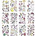 Eenhoorn Tijdelijke Tattoos, ZoomSky 24 Vellen Diverse Tijdelijke Stickers voor Kinderen Meisjes Jongens voor Verjaardagsfees