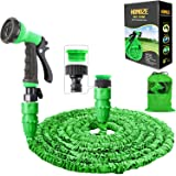 """HOMOZE Garden Hose Pipe 50 FT Expandable Garden Hose with 3/4"""", 1/2"""" Fittings, Anti-leakage - Flexible Expanding Hose with 8"""