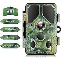 Campark WLAN Bluetooth Wildkamera 20MP 1296P, WiFi No Glow Night Vision Wildtierkamera mit Nachtsicht Wildlife Jagdkamera, Überwachungswinkel Bewegungserkennung IP66 Wasserdicht