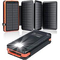 Solar Powerbank 26800mAh, elzle Solar Ladegerät mit 2 USB-Ausgangsport & 1 USB-Eingangsport, Outdoor Wasserfester…