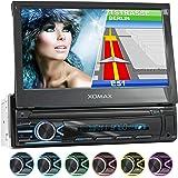 """XOMAX XM-VN745 Autoradio avec Mirrorlink I Navigation GPS I Bluetooth I Écran Tactile 7"""" / 18 cm I RDS, USB, AUX I Connexions pour caméra de recul et télécommande au Volant I 1 DIN"""