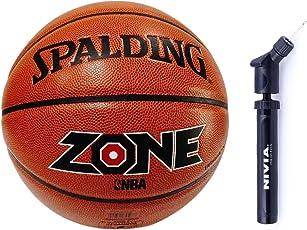 Spalding Basketball Zone Combo ( Spalding Zone New PU Composite Material Basketball, Size 7 ,Brick + Nivia Ball Air Pump)