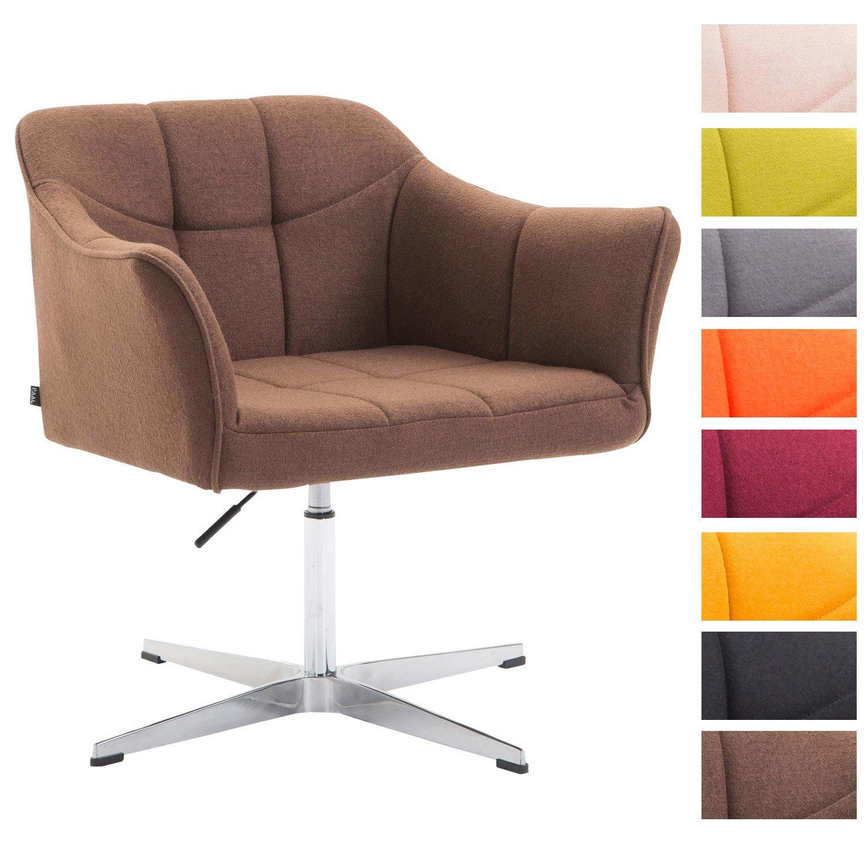 CLP Lounger Jean mit Stoffbezug | drehbarer & höhenverstellbarer Sessel | Lehnstuhl mit Aluminiumgestell | Sitzhöhe von 41-54 cm Creme 1
