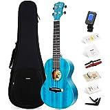 Enya Concert Ukulele 23 Inch Blauwe Effen Mahonie Top met Ukeleles Starter Kit Inclusief Online Lessen, Koffer, Riem, Snaren,