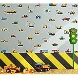 KAIRNE 42 Pcs Sticker Muraux Véhicule Pour Enfants,Autocollant Muraux Voiture Pour Chambre D'enfants/Bébé,Autocollant Mural V