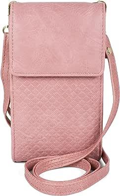 styleBREAKER Damen Mini Bag Umhängetasche mit geprägtem Waffelmuster und Druckknopf, Handytasche, Schultertasche 02012372