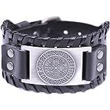Teamer - Braccialetto in pelle vintage in stile nordico e vichingo, con 24 rune e simbolo islandese Vegvisir per fortuna e be