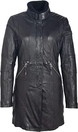 Gipsy GGSilah LEGV - Cappotto corto da donna in pelle con colletto rimovibile in pelliccia di agnello