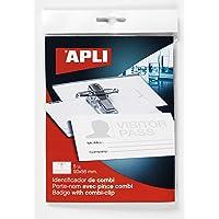 APLI 11745 – Kit 20 Porte-badges avec Pince + épingle (90 x 56 mm), 5 unités