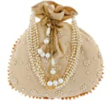 Heart Home Ethnic Clutch Silk Potli Batwa Pouch Bag with Beadwork Gift for Women (Gold) - CTHH013654