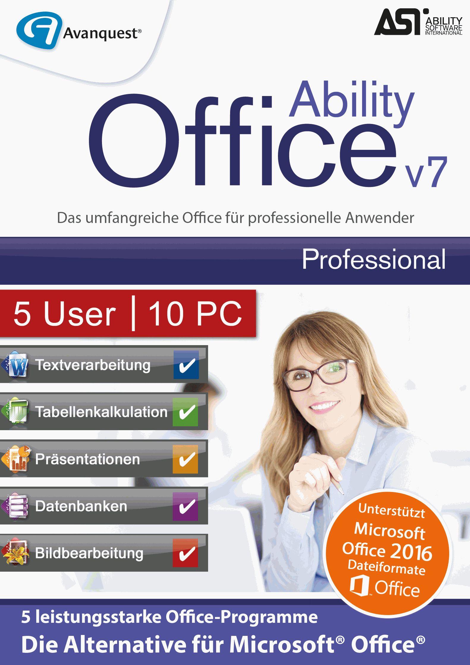 Ability Office 7 Professional - Lizenz für 5 User und 10 PC! Microsoft 10|8|7|Vista [Download]
