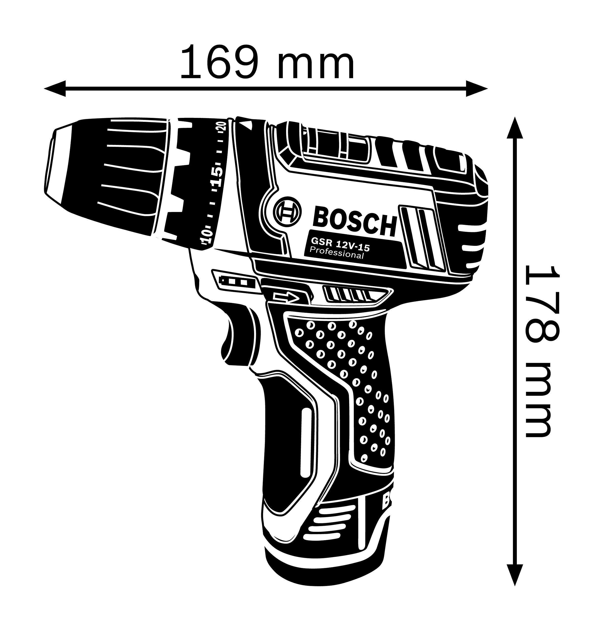 Bosch Professional GSR 12V-15 – Atornillador a batería (2 baterías x 2,0 Ah, 12V, set de 39 accesorios, en maletín de lona) + Set de 43 unidades para atornillar y llaves de vaso (Ph,Pz,Sl,H,T,Th)