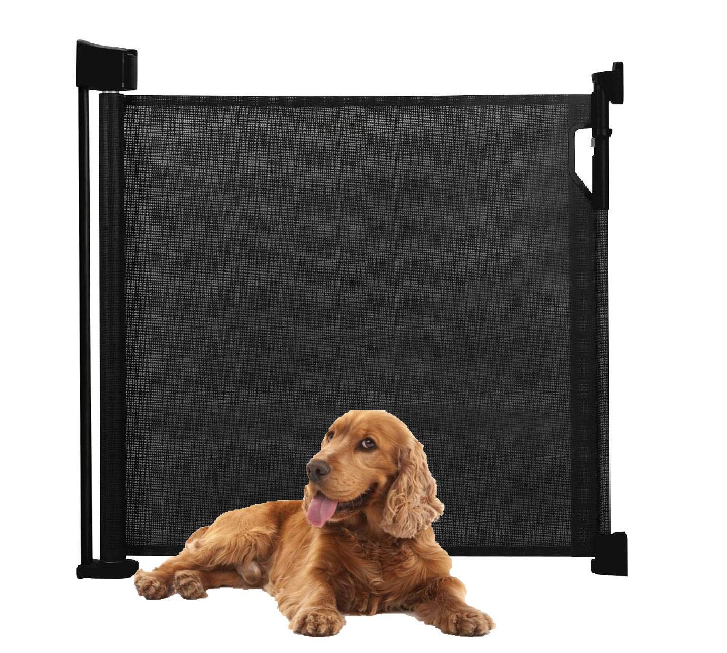 Bettacare Advanced Retractable Pet Gate (60cm - 140cm, Black) Bettacare comes in two sizes 90cm tall and upto 120cm wide, or 95cm tall and upto 140cm wide Screw fitted mesh barrier with steel frame. Easy to follow installation guide with template for perfect fit One-handed operation. Retractable gate that fully retracts when not in use 1