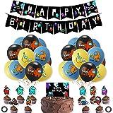Cumpleaños Decoracion de Among Us Globos Pancarta de Feliz Cumpleaños Adornos para Pastel de Juegos